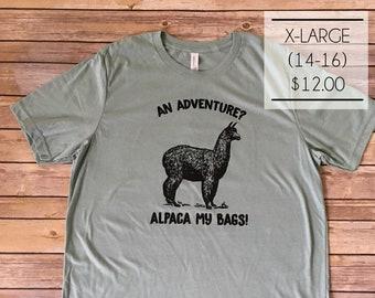 SALE - Size X-Large - An Adventure? Alpaca My Bags! T-shirt in Dusty Blue