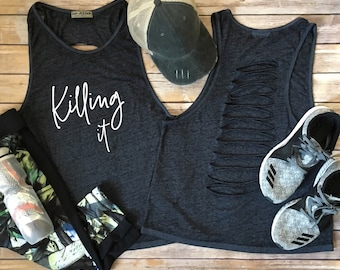 Killing It Workout Tank Top with Ladder Back Holes