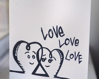 "Love Love Love card / Blank card / Black and white / 3.5"" x 4.875"""