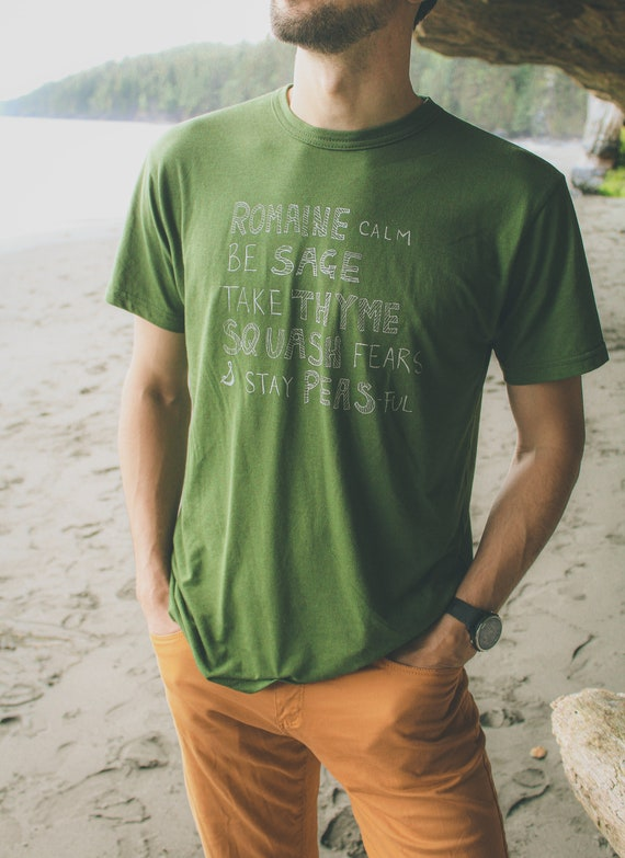VEGGIE WISDOM Print. Sustainable Tee. Bamboo Tshirt. Mens Funny Tshirt. Veggie Tshirt. Gifts for Dad. Vegetable Puns Tee. Farmer Pun Tshirt