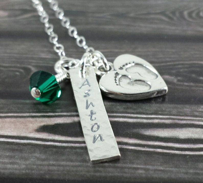 Personalized Mommy Necklace  New Baby Expecting Mom Mommy image 0