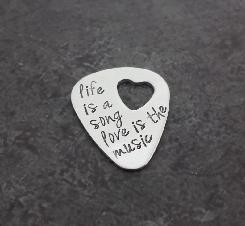 Personalized Guitar Pick with Heart Cut Out  Sterling Silver image 0