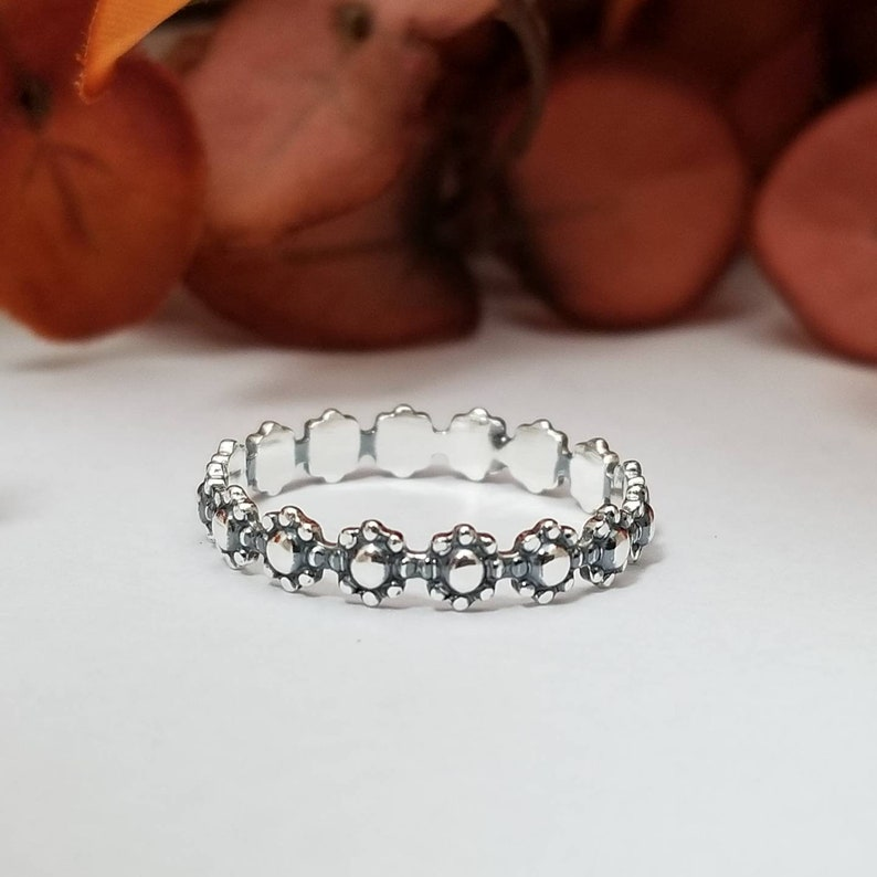 Sterling Silver Flower Ring  Mothers Day Gifts image 0