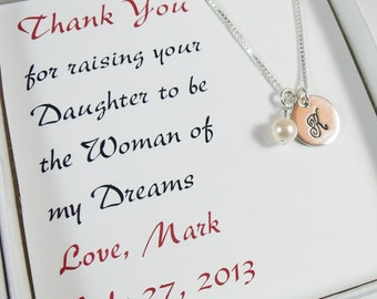 Thank you for Raising the Woman of my Dreams Hand Stamped Initial Necklace - Mother of the Bride Jewelry