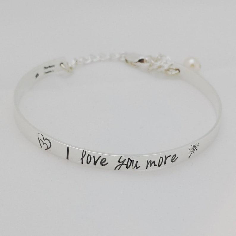 2fc2b890b1d7 I Love You More Sterling Silver Bracelet Hand Stamped