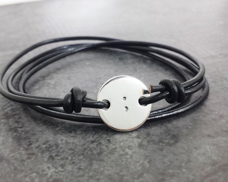 Semicolon Bracelet  Sterling Silver and Leather Wrap Bracelet image 0