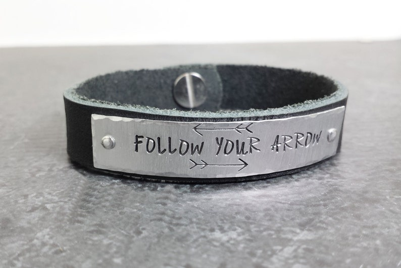 Personalized Silver and Leather Bracelet  Follow Your Arrow image 0