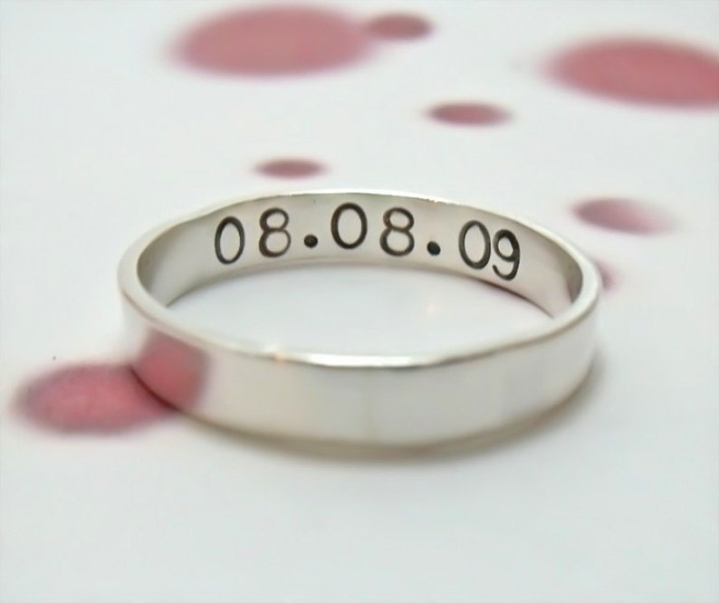 Personalized Ring  Hand Stamped Sterling Silver Ring  image 0