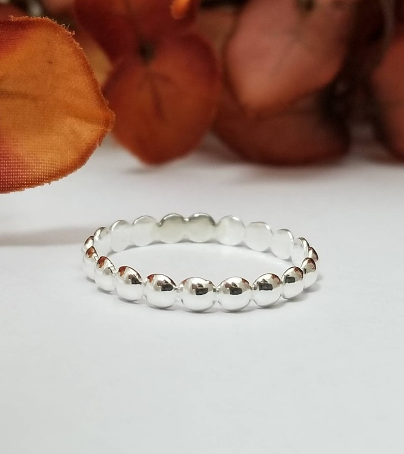 Sterling Silver Bead Ring  Mothers Day Gifts image 0