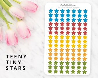 Teeny Tiny Star Stickers, Small Star Stickers, Mini Star Stickers, Planner Stickers, Bujo, Blue, Red, Orange, Yellow, Green, Back To School