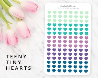 Teeny Tiny Heart Stickers, Heart Planner Stickers, Erin Condren Sticker, Bullet Journal Stickers, Bujo, Tiny Sticker, Just Breathe