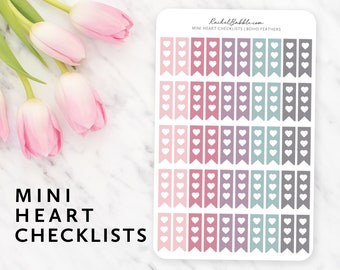Mini Checklist Stickers, Heart Checklist Stickers, Standard Vertical, Bullet Journal Stickers, Small Checklist, Boho Feathers