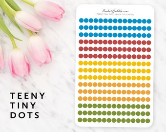 Teeny Tiny Dot Stickers, Circle Planner Stickers, Mini Dot Sticker, Small Dot, Bullet Journal Stickers, Primary Colors, Blue, Back To School