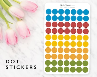Dot Stickers, Circle Stickers, Planner Stickers, Bullet Journal, Blue, Red, Yellow, Orange, Green, .5 inch, Half Inch, Back To School
