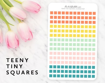 Teeny Tiny Square Stickers, Square Planner Stickers, Erin Condren Stickers, Bullet Journal Stickers, Happy Planner Stickers, Summer Pop