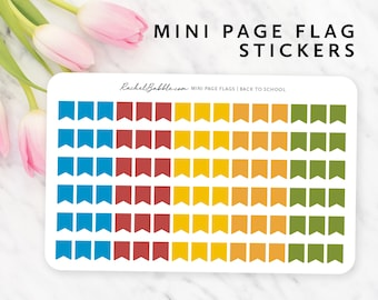 Mini Page Flag Stickers, Small Page Flag, Tiny Page Flag, Planner Stickers, Functional Stickers, Blue, Red, Orange, Yellow, Back To School