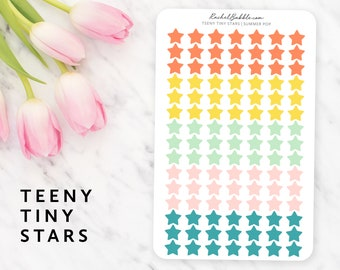 Teeny Tiny Star Stickers, Planner Stickers, Erin Condren Stickers, Happy Planner Stickers, Bullet Journal, Bujo, Small Stars, Summer Pop