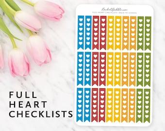 Checklist Planner Stickers, Heart Checklist Stickers, Ribbon Checklist, Erin Condren, Bujo, Blue, Red, Yellow, Orange, Green, Back To School