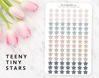 Teeny Tiny Star Stickers, Small Star Stickers, Mini Star, Planner Stickers, Bullet Journal, Bujo, Pastel, Pink, Orange, Blue, Wedding Hues