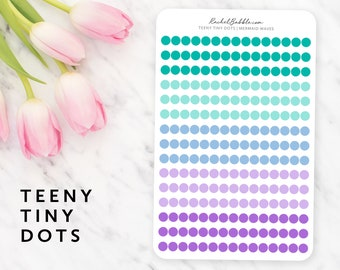 Teeny Tiny Dot Stickers, Circle Planner Stickers, Erin Condren Stickers, Bullet Journal Stickers, Happy Planner Stickers, Mermaid Waves