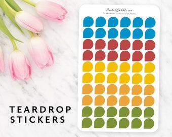 Teardrop Stickers, Small Teardrop, Dew Drop, Planner Stickers, Page Flags, Minimal, Erin Condren, Red, Blue, Yellow, Orange, Back To School