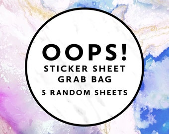 OOPS BAG 5 Random Sticker Sheets, Misfit Planner Stickers, Imperfect Planner Stickers, Mystery Grab Bag, Happy Planner, Bullet Journal, Bujo