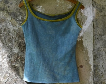 Yoga tank womens gaia earthy natural dyes blue chartreuse organic cotton vest top clothing shirt hippie holistic wellbeing boho dance herbal
