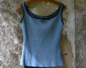 Yoga tank womens gaia earthy natural dyes blue bohemian organic cotton vest top clothing shirt hippie holistic wellbeing boho dance herbal