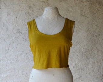 Mustard yellow crop top womens earthy shirts yoga organic hemp shirts bralette hand dyed grunge alternative ethical raw festival eco cropped