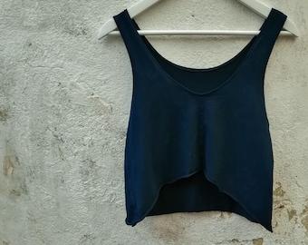 Grunge vest top ink blue soft modal cotton eco slouchy boho clothing minimalist ethical sustainable fashion handmade irregular alternative