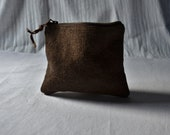 Dark brown pouch zip up kakishibu plant dye eco purse naturally bag organiser rustic linen handmade earthy minimalist mens womens leather