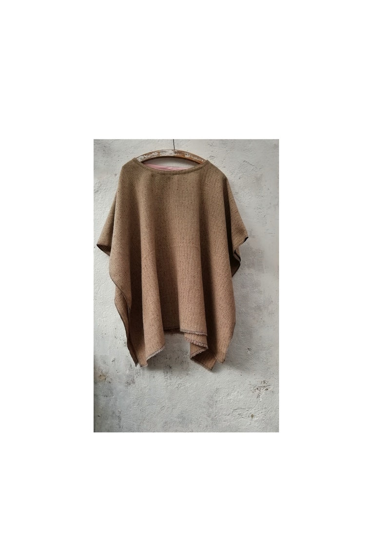 Wool poncho beige free size earthy pullover autumn winter mens womens loose fit comfy baggy knit fall bohemian woollen cape throw overcoat