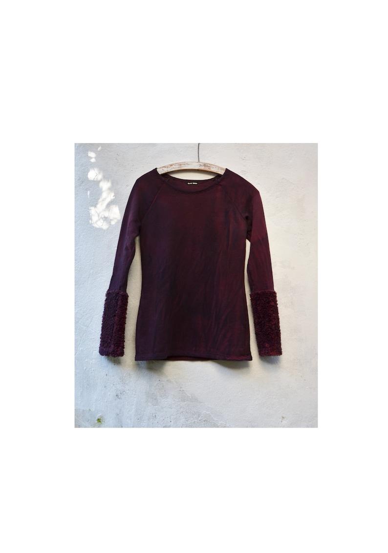 Dark red sweater womens handmade grunge organic cotton fleece hand dyed mottled low impact earthy minimalist style mori boho slow fashion
