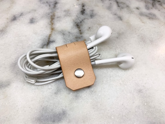 Cable Holder, Minimal Leather Personalized Cable Organizer