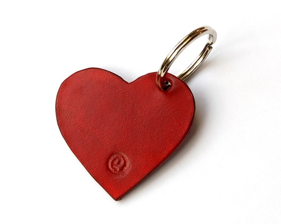 Handmade Heart Leather Keychain Keyring Keyfob