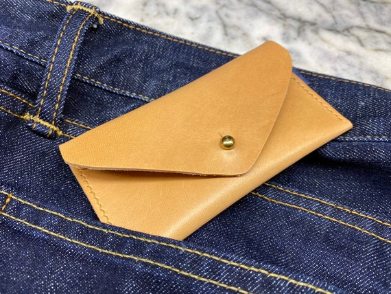 Leather and Jeans Minimalist Wallet Card Holder, Personalized Handmade Leather Wallet, Leather Card Holder