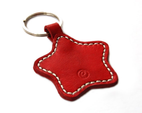 Handmade Star Leather Keychain Keyring Keyfob