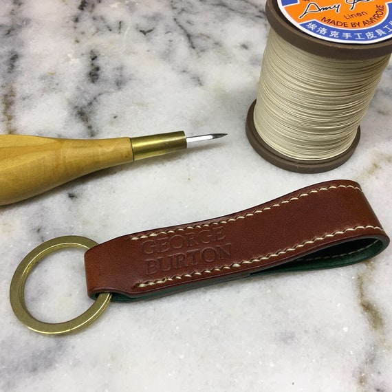 Personalized  Elegant Brass and Leather Keychain