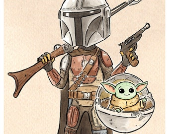 The Mandalorian and Child A4 Signed Print