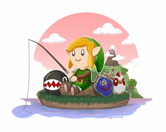 Link's Awakening Limited Edition Signed Zelda Print