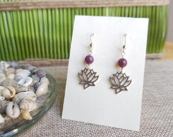 Lepidolite with Silver Lotus Earrings and Sterling Silver Ear Wires