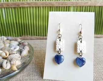 Kyanite Heart Earrings with Fine Silver Plated Textured Rectangle and Sterling Silver Ear wires