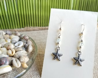 Starfish Earrings (Sterling Silver) with Swarovski Crystal and Sterling Silver Ear Wires