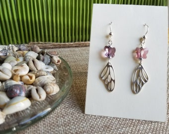 Butterfly Wing (Sterling Silver) Earrings with Antique Pink Swarovski Crystal Butterfly and Sterling Silver Ear Wires
