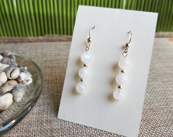 Rainbow Moonstone Earrings with Rounded Square Beads and Sterling Silver Ear Wires