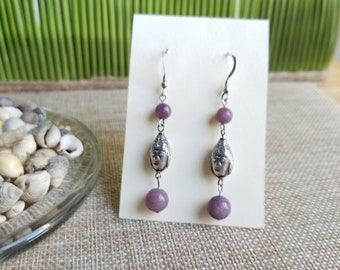 Lepidolite with Sterling Silver Buddha Head Earrings and Sterling Silver Ear Wires