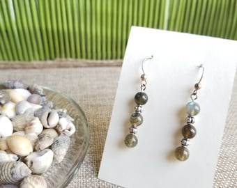 Green/Brown Labradorite Earrings with Barrel Beads and Sterling Silver Ear Wires