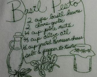 Basil Pesto Recipe Embroidered White Kitchen tea towel
