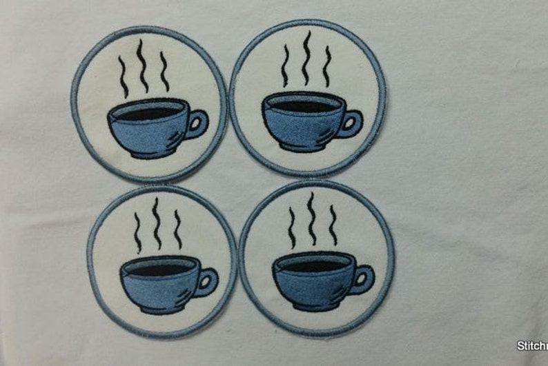 Embroidered COFFEE CUP COASTERS-set of 4