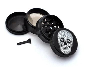 """Skeletons D15 Aluminum Herb Grinder 2.5/"""" 63mm 4 Piece Death Skulls"""